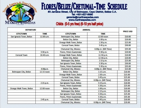 marlin espadas bus schedule belize bus and travel guide